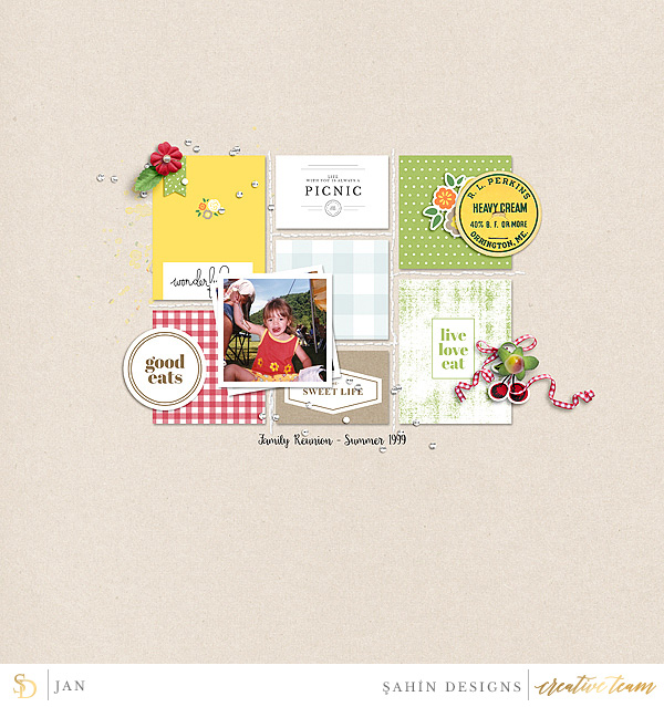 Digital scrapbook layout using Picnic Day collection by Sahin Designs. Click thru to see more inspirations. Pin & save for later!