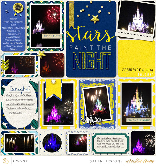 Digital scrapbook layout using Reflections At Night collection by Sahin Designs. Click thru to see more inspirations. Pin & save for later!