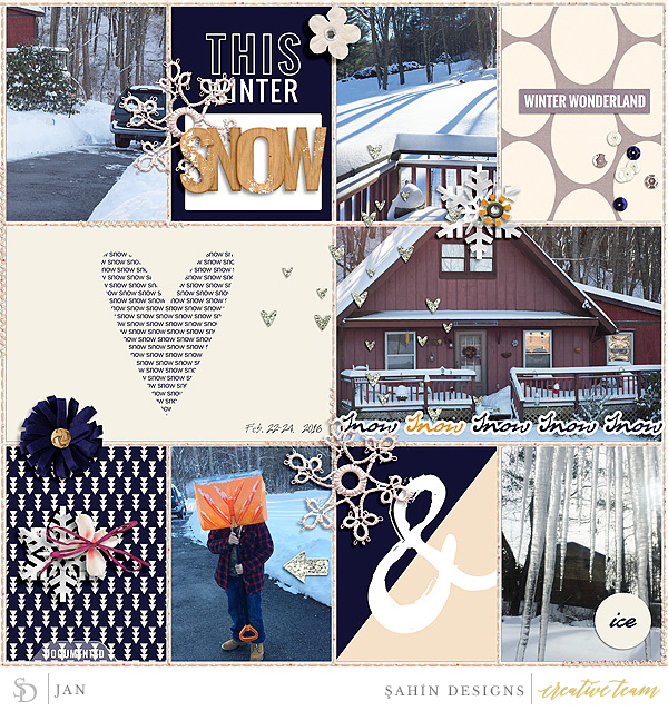 Digital scrapbook layout using Winter's Tale collection by Sahin Designs. Click thru to see more inspirations. Pin & save for later!