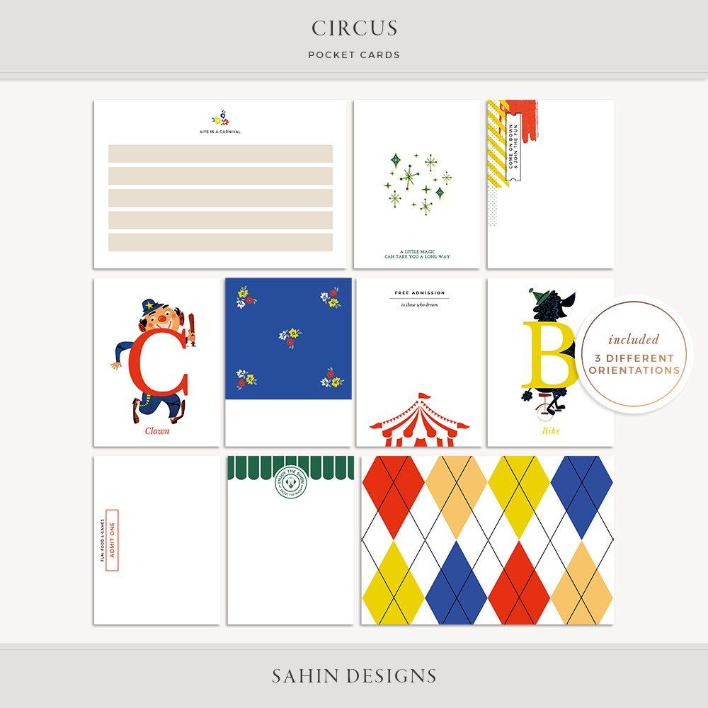 Circus Printable Pocket Cards -Sahin Designs