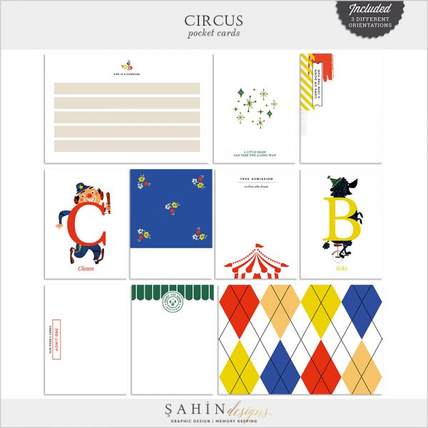 Circus Digital Scrapbook Pocket Cards by Sahin Designs. Click to download. Pin & save for later!