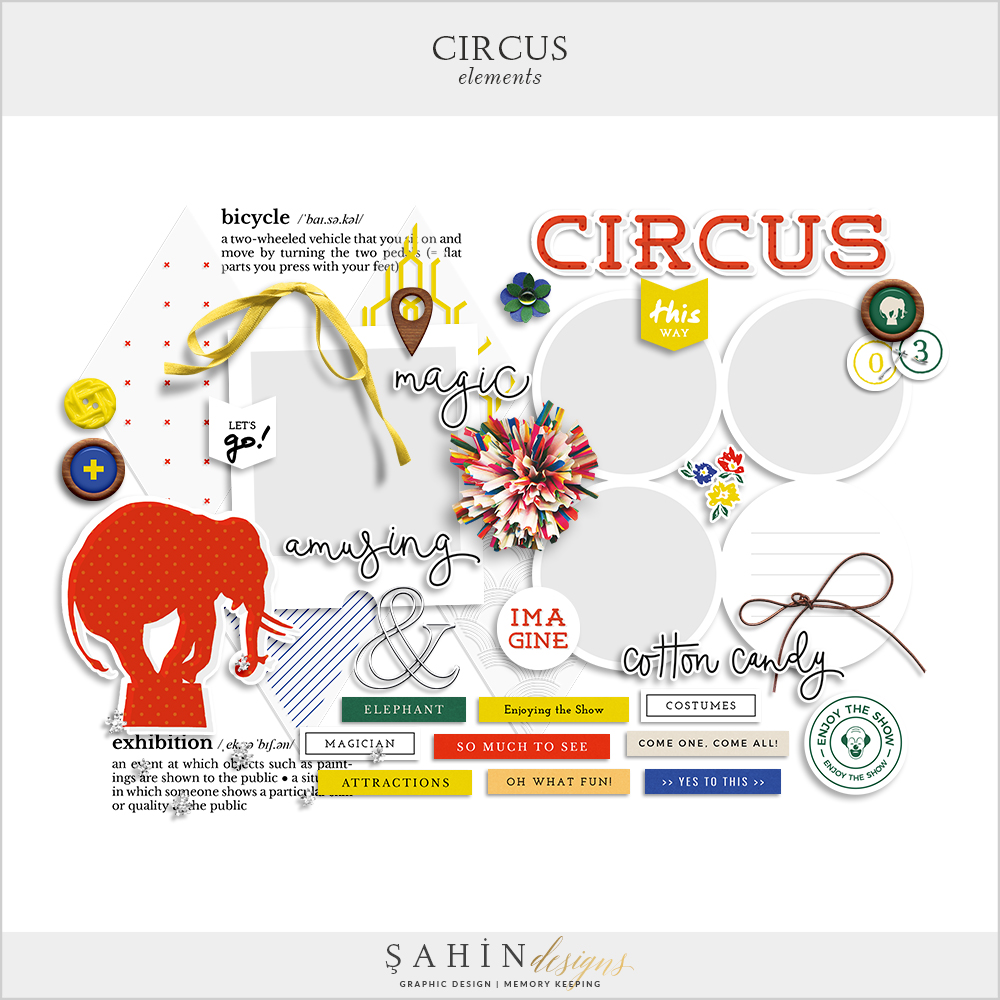 Circus Digital Scrapbook Elements by Sahin Designs. Click to download. Pin & save for later!