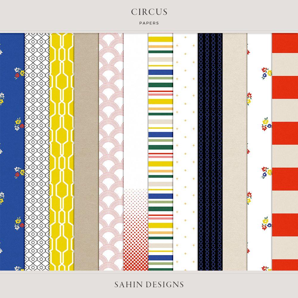 Circus Digital Scrapbook Papers -Sahin Designs