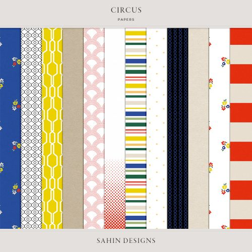 Circus Digital Scrapbook Papers -Sahin Designs