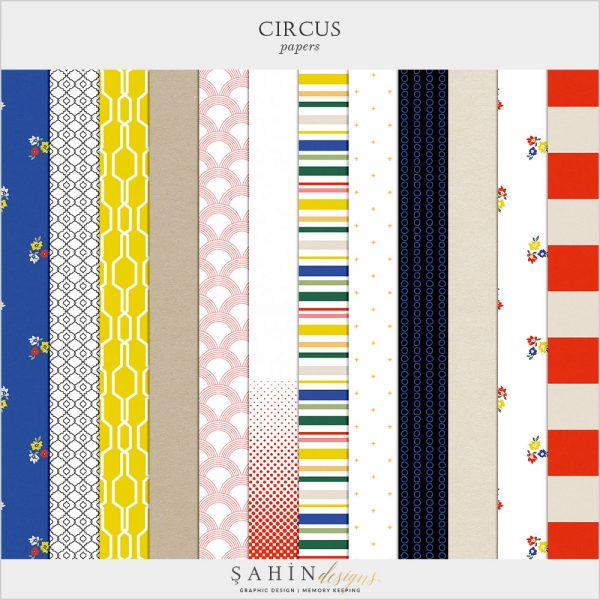 Circus Digital Scrapbook Patterns by Sahin Designs. Click to download. Pin & save for later!