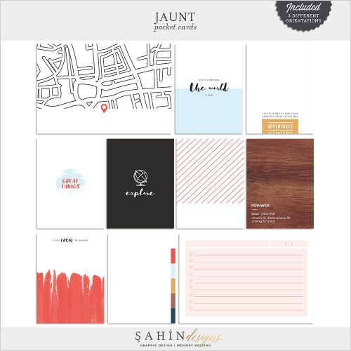 Jaunt Digital Scrapbook Printable Pocket Cards by Sahin Designs. Click to download. Pin & save for later!