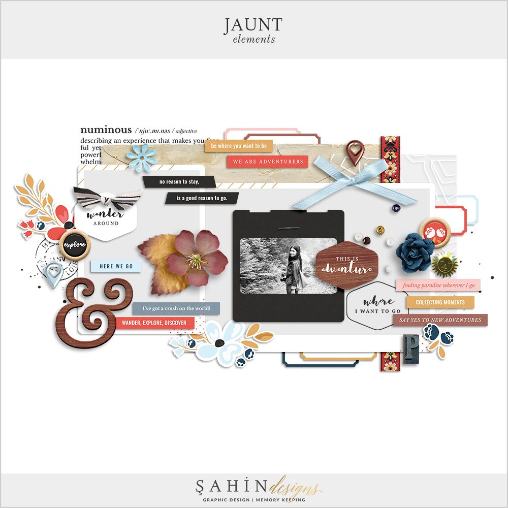 Jaunt Digital Scrapbook Elements by Sahin Designs. Click to download. Pin & save for later!