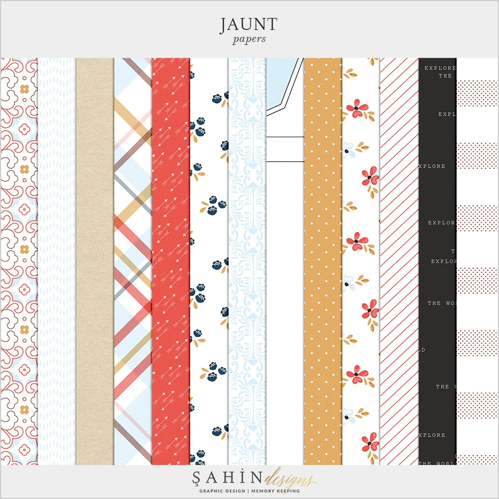 Jaunt Digital Scrapbook Papers by Sahin Designs. Click to download. Pin & save for later!