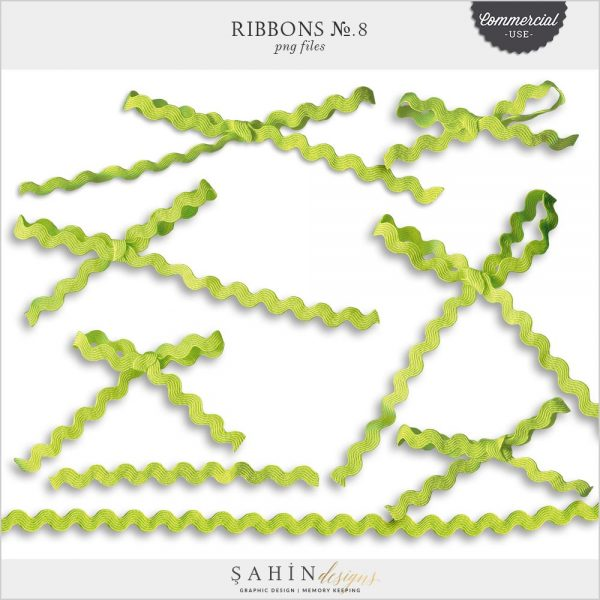 Ribbons No.8 by Sahin Designs. Commercial Use Digital Scrapbook Supplies. Click to download the kit. Pin & save for later!