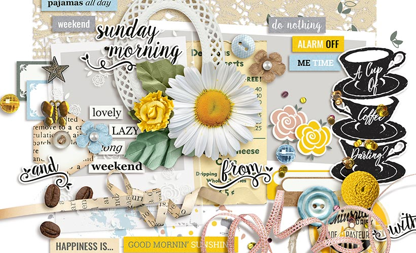 Sunday Morning Digital Scrapbook Collection by Sahin Designs. Click to download the kit. Pin & save for later!