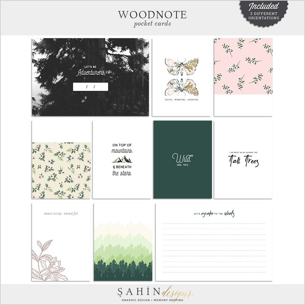 Woodnote Digital Scrapbook Printable Pocket Cards by Sahin Designs. Click to download. Pin & save for later!