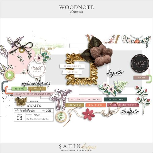 Woodnote Digital Scrapbook Elements by Sahin Designs. Click to download. Pin & save for later!