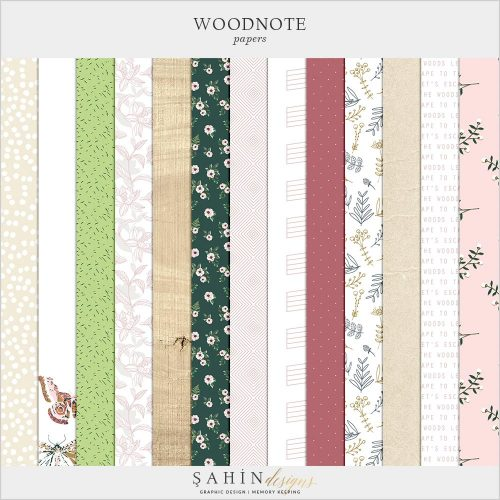 Woodnote Digital Scrapbook Papers by Sahin Designs. Click to download. Pin & save for later!