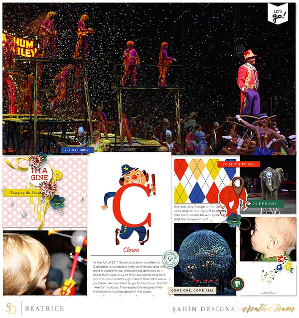 Digital scrapbook layout using Circus collection by Sahin Designs. Click thru to see more inspirations. Pin & save for later!