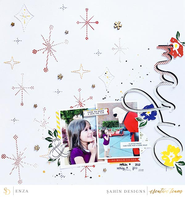 Hybrid scrapbook layout using Circus collection by Sahin Designs. Click thru to see more inspirations. Pin & save for later!