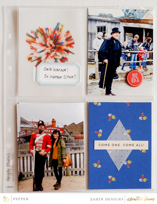 Hybrid pocket scrapbook layout using Circus collection by Sahin Designs. Click thru to see more inspirations. Pin & save for later!
