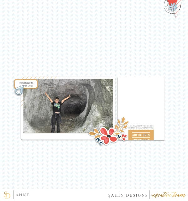 Digital scrapbook layout using Jaunt collection by Sahin Designs. Click thru to see more inspirations. Pin & save for later!