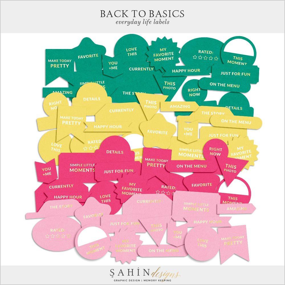 Back to Basics Everyday Life Printable Labels | Digital Scrapbook | Sahin Designs