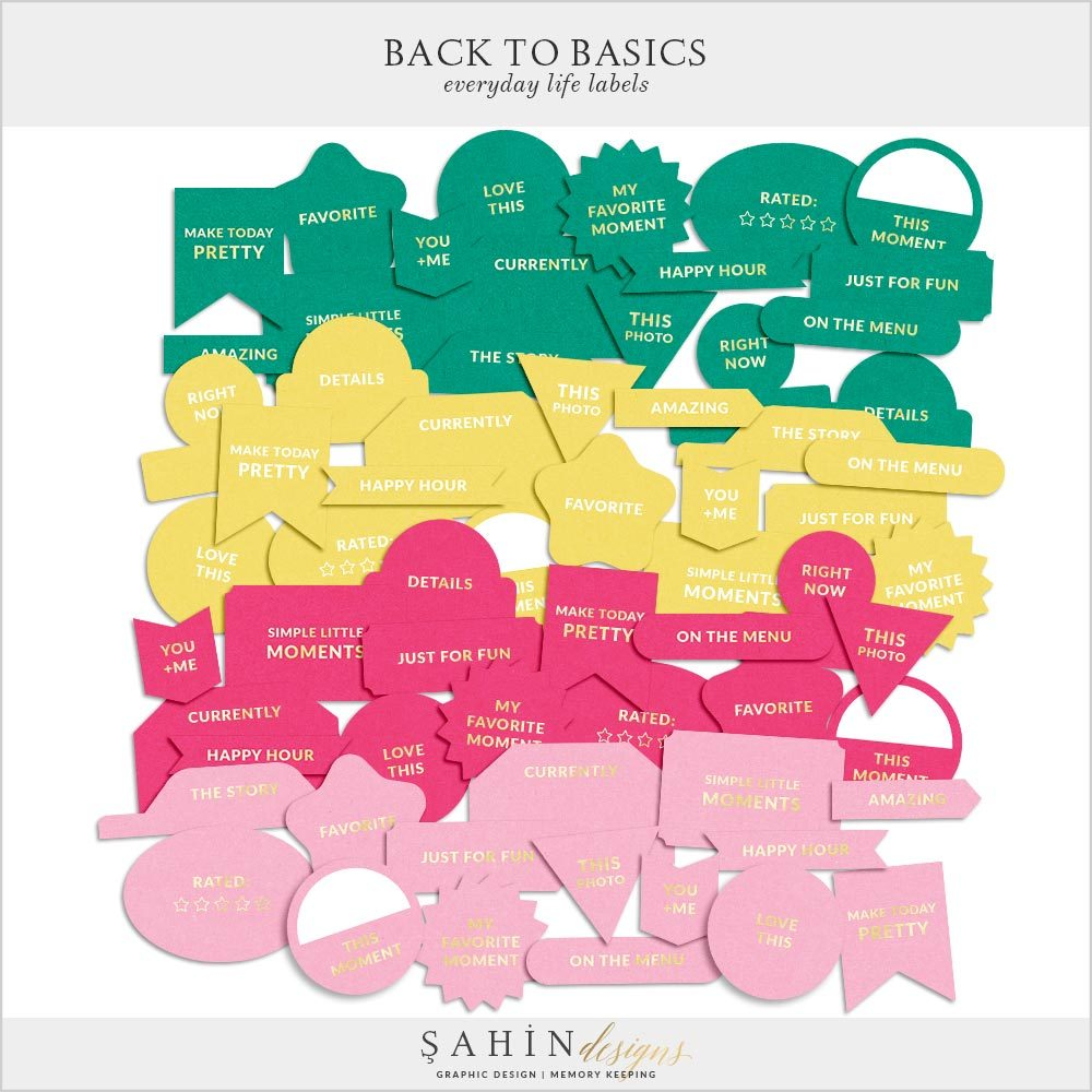Back to Basics Everyday Life Printable Labels | Digital Scrapbook | Sahin Designs