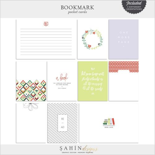 Bookmark Digital Scrapbook Pocket Cards | Sahin Designs | Printable Project Life