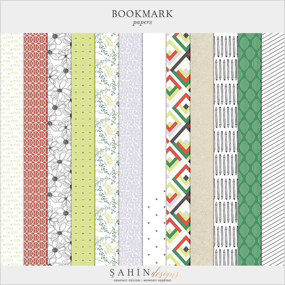 Bookmark Digital Scrapbook Papers Pack   Sahin Designs   Digital Pattern