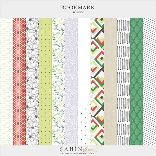 Bookmark Digital Scrapbook Papers Pack | Sahin Designs | Digital Pattern