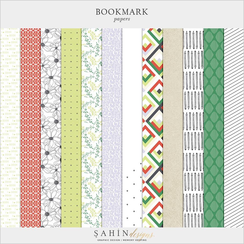Bookmark Digital Scrapbook Papers Pack | Sahin Designs | Digital Pattern