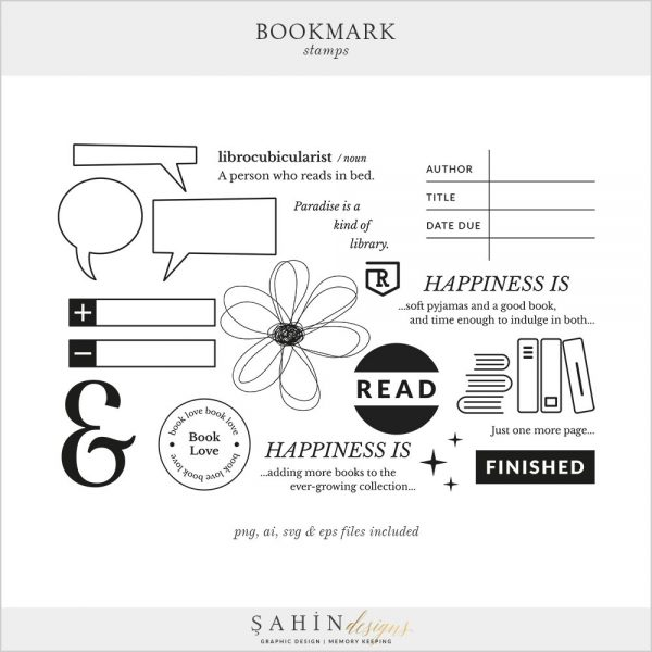 Bookmark Digital Scrapbook Stamps | Sahin Designs | Digital Stamp
