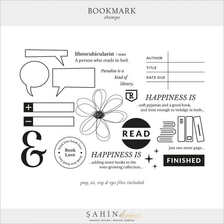 Bookmark Digital Scrapbook Stamps | Sahin Designs | Digital Stamp