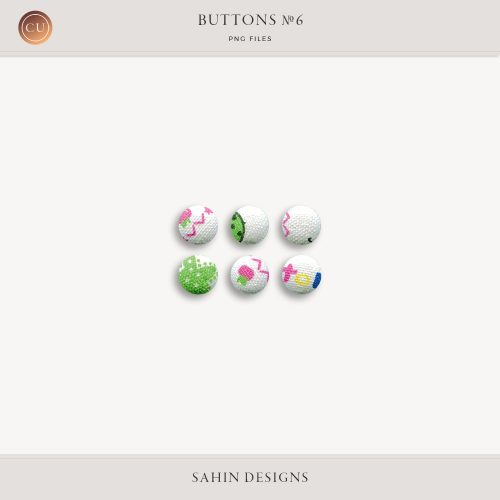 Extracted Fabric Buttons | CU Digital Scrapbook | Sahin Designs