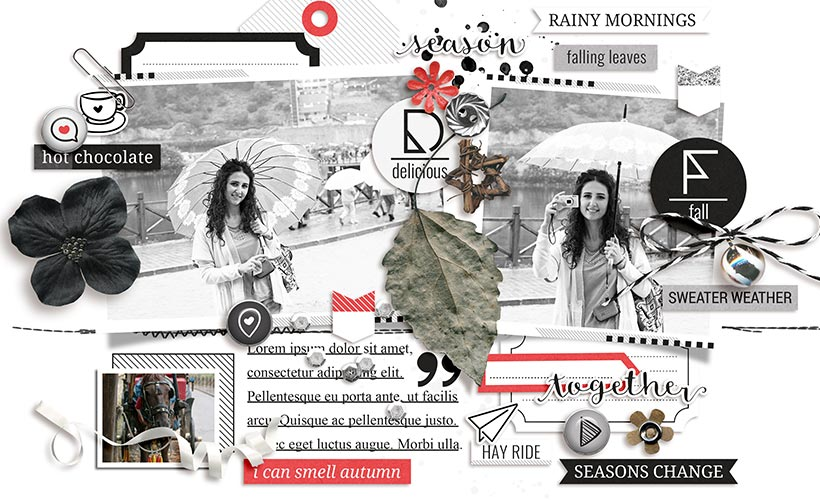 Monochrome Fall Digital Scrapbook Collection by Sahin Designs. Click to download the kit. Pin & save for later!