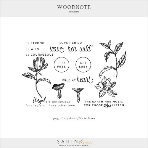 Woodnote Digital Scrapbook Stamps by Sahin Designs. Click to download. Pin & save for later!