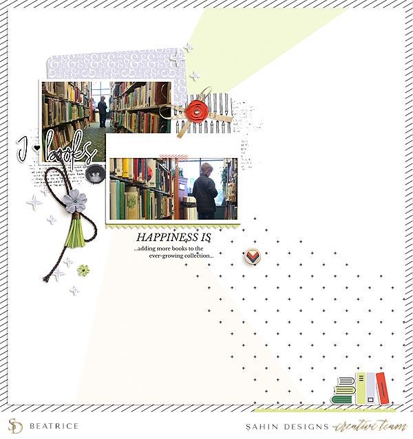 Scrapbook Layout Inspiration | Digital Scrapbook | Sahin Designs | Bookmark Collection