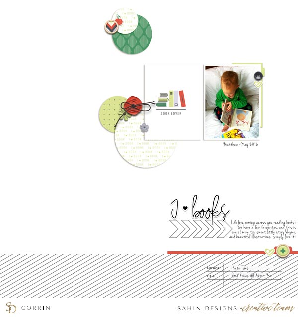 Scrapbook Layout Inspiration | Digital Scrapbook | Sahin Designs | Bookmark Collection
