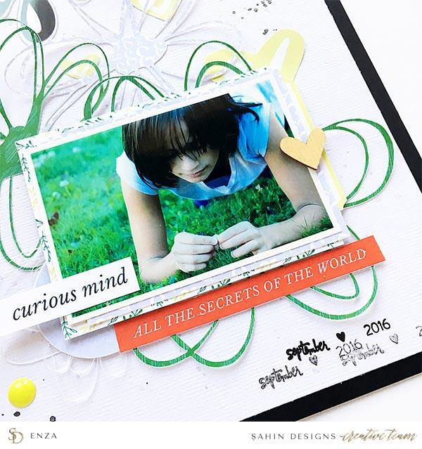 Scrapbook Layout Inspiration | Hybrid Scrapbook | Sahin Designs | Bookmark Collection