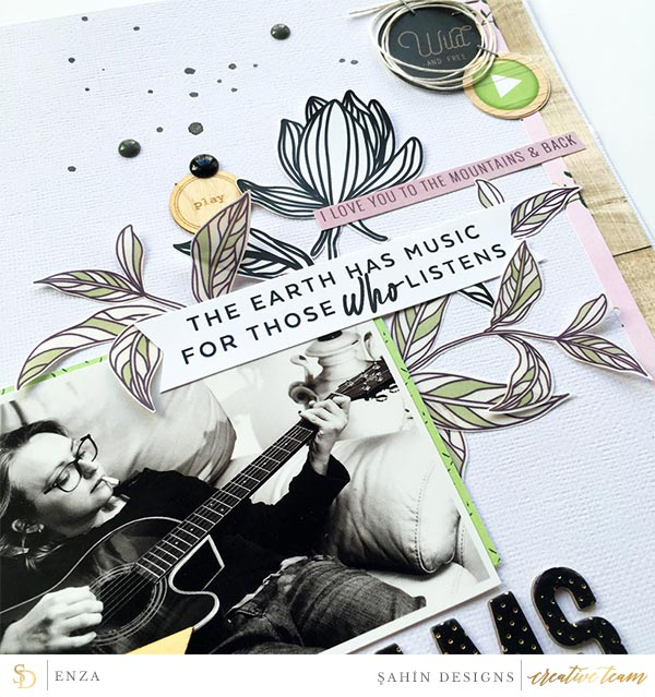 Hybrid scrapbook layout using Woodnote collection by Sahin Designs. Click thru to see more inspirations. Pin & save for later!