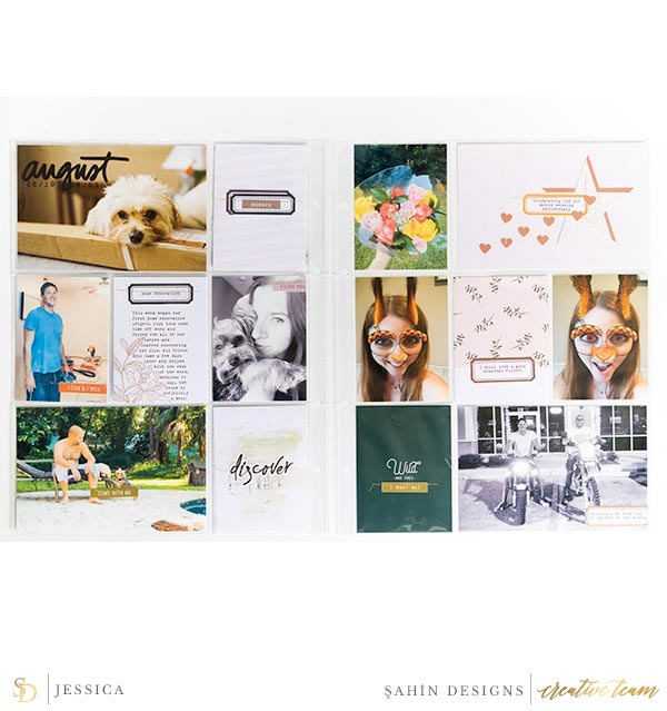 Pocket scrapbook layout using Woodnote collection by Sahin Designs. Click thru to see more inspirations. Pin & save for later!