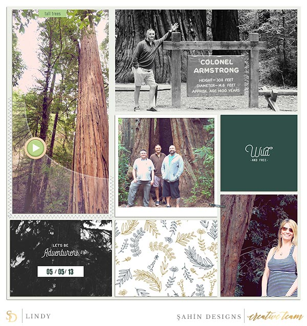 Scrapbook Layout Inspiration | Digital Scrapbook | Sahin Designs | Woodnote Collection