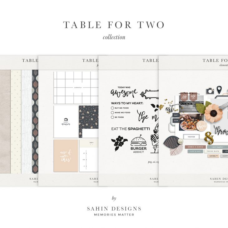 Table for Two Digital Scrapbook Collection | Sahin Designs