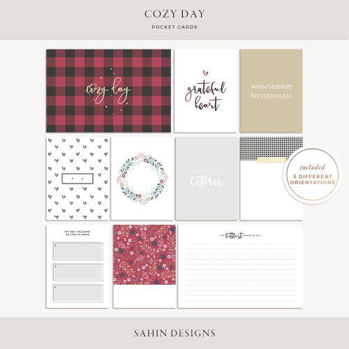 Cozy Day Digital Scrapbook Pocket Cards   Sahin Designs   Project Life