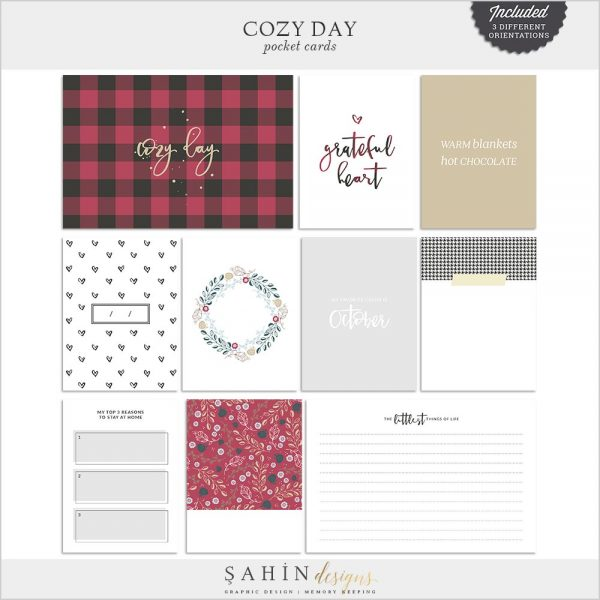 Cozy Day Digital Scrapbook Pocket Cards | Sahin Designs | Project Life