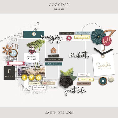 Cozy Day Digital Scrapbook Elements   Sahin Designs