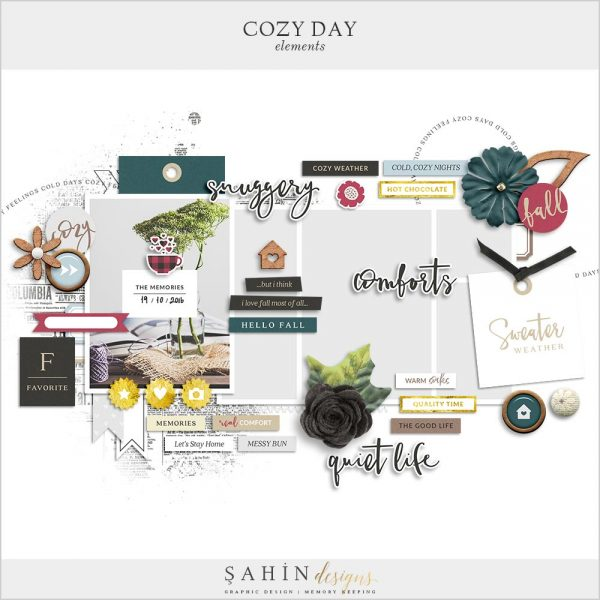 Cozy Day Digital Scrapbook Elements | Sahin Designs