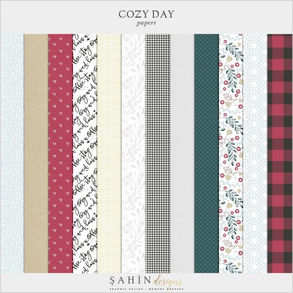 Cozy Day Digital Scrapbook Papers | Sahin Designs | Pattern
