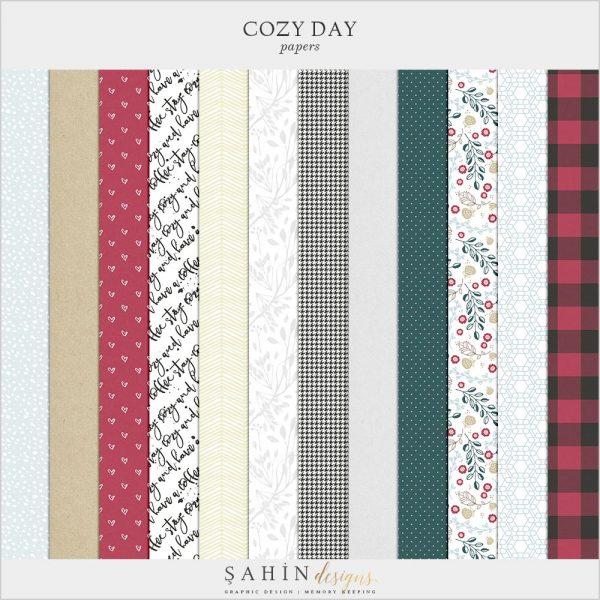 Cozy Day Digital Scrapbook Papers | Sahin Designs | Pattern