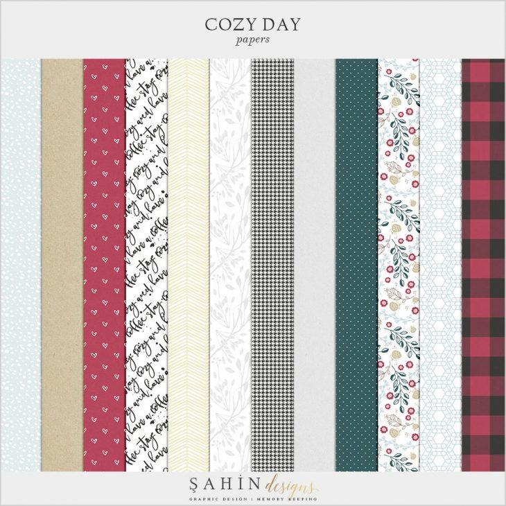 Cozy Day Digital Scrapbook Papers   Sahin Designs   Pattern