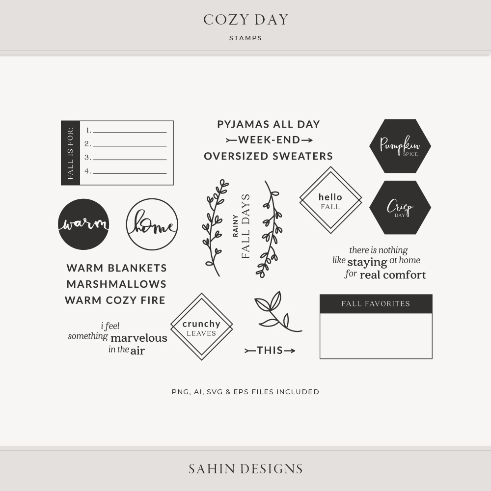 Cozy Day Digital Scrapbook Stamps | Sahin Designs