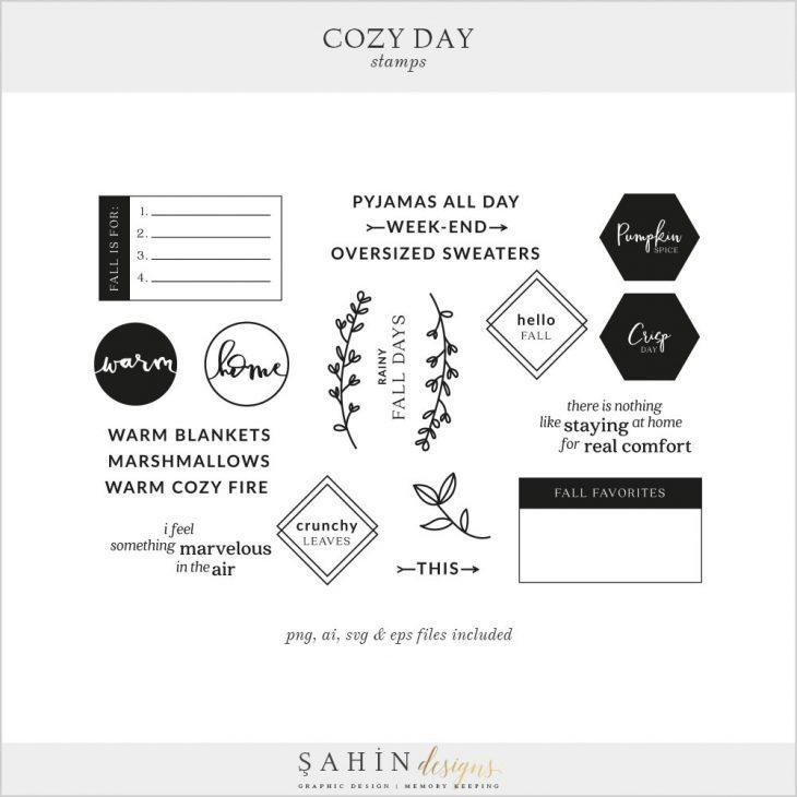 Cozy Day Digital Scrapbook Stamps   Sahin Designs
