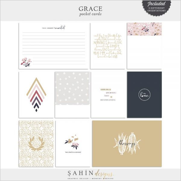 Grace Digital Scrapbook Pocket Cards | Sahin Designs | Project Life