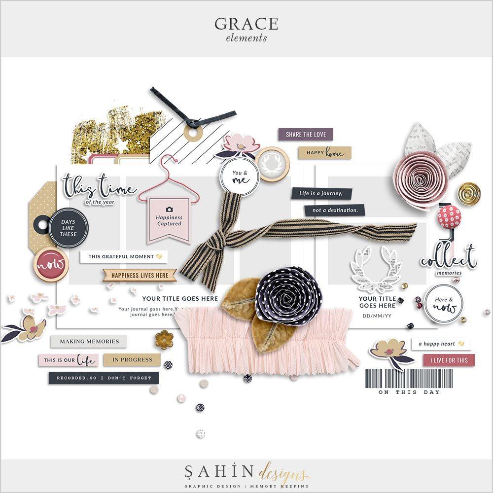 Grace Digital Scrapbook Elements | Sahin Designs